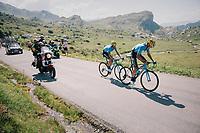 Marc Soler (ESP/Movistar) & Alejandro Valverde (ESP/Movistar) up the Comet de Roselend<br /> <br /> Stage 11: Albertville > La Rosière / Espace San Bernardo (108km)<br /> <br /> 105th Tour de France 2018<br /> ©kramon