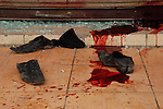 SULAIMANIYAH, IRAQ: Shoes lie in a pool of blood after Kurdish security forces open fired on protesters...Kurdish security forces shot and killed protesters in the northern Iraqi city of Sulaimaniyah...Photo by Sartep Osman