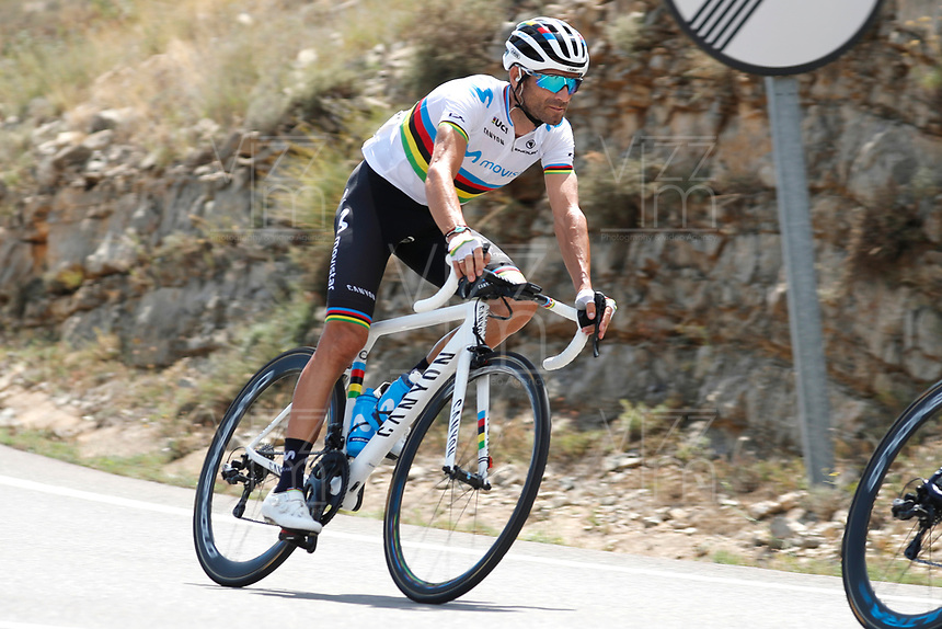 ESPAÑA, 28-08-2019: Alejandro Valverde (ESP - MOVISTAR) durante la etapa 5, hoy, 28 de agosto de 2019, que se corrió entre L' Eliana y el Observatorio Astrofísico de Javalambre con una distancia de 170,7 km como parte de La Vuelta a España 2019 que se disputa entre el 24/08 y el 15/09/2019 en territorio Español. / Alejandro Valverde (ESP - MOVISTAR) during stage 5 today, August 28, 2019, from L'Eliana to Javalambre Astrophysical Observatory with a distance of 170,7 km as part of Tour of Spain 2019 which takes place between 08/24 and 09/15/2019 in Spain.  Photo: VizzorImage / Luis Angel Gomez / ASO<br /> VizzorImage PROVIDES THE ACCESS TO THIS PHOTOGRAPH ONLY AS A PRESS AND EDITORIAL SERVICE AND NOT IS THE OWNER OF COPYRIGHT; ANOTHER USE HAVE ADDITIONAL PERMITS AND IS  REPONSABILITY OF THE END USER