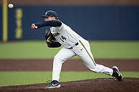 Michigan Wolverines pitcher Ben Keizer (14) delivers a pitch to the plate in the NCAA baseball game against the Michigan State Spartans on May 7, 2019 at Ray Fisher Stadium in Ann Arbor, Michigan. Michigan defeated Michigan State 7-0. (Andrew Woolley/Four Seam Images)