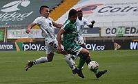 BOGOTÁ- COLOMBIA, 27-02-2021:Daniel Mantilla de La Equidad disputa el balón con Frank Lozano de Boyacá Chicó durante partido por la fecha 10 entre La Equidad y Boyacá Chicó como parte de la Liga BetPlay DIMAYOR 2021 jugado en el estadio  Metropolitano de Techo  de la ciudad de Bogotá / Daniel Mantilla of La Equidad vies for the ball with Frank Lozano of Boyaca Chico during match for the date 10 between La Equidad and  Boyaca Chico  as a part BetPlay DIMAYOR League I 2020 played at Metropolitano de Techo stadium in Bogota city. Photo: VizzorImage / Felipe Caicedo / Staff