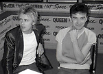 "Roger Taylor and John Deacon of Queen attend Queen Press Conference for ""Hot Space"" at Crazy Eddie's on July 27, 1982  in New York City."