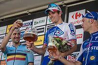Bottoms up!<br /> Arnaud Démare (FRA/FDJ) wins the 70th Halle Ingooigem 2017 (1.1) <br /> Edward Theuns (BEL/Trek-Segafredo) is 2nd & Iljo Keisse (BEL/QuickStep Floors) 3rd<br /> <br /> <br /> 1 Day Race: Halle > Ingooigem (201km)