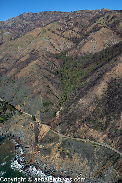 aerial photograph of landslide at Highway One, Big Sur, Monterey County, California