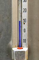 Fermentation tanks. Thermometer showing 10 centigrade. Domaine Henri Bourgeois, Chavignol, Sancerre, Loire, France