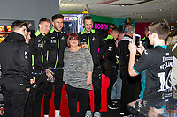 Pictured: (L-R) Jay Fulton, Joe Rodon and Erwin Mulder of Swansea City during the Swansea player and fans bowling evening at Tenpin Swansea, Swansea, Wales, UK. Wednesday 22 January 2020