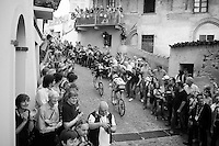 on the final ascent of the very steep (20%) cobbled Via Principi d'Acaja<br /> <br /> stage 18: Muggio - Pinerolo (240km)<br /> 99th Giro d'Italia 2016