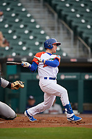 """Buffalo Bisons Billy McKinney (11) at bat during an International League game against the Scranton/Wilkes-Barre RailRiders on June 5, 2019 at Sahlen Field in Buffalo, New York.  The Bisons wore special uniforms as they played under the name the """"Buffalo Wings"""". Scranton defeated Buffalo 3-0, the first game of a doubleheader. (Mike Janes/Four Seam Images)"""