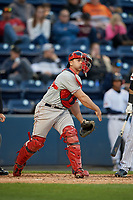 Pawtucket Red Sox catcher Dan Butler (12) throws to first base during a game against the Scranton/Wilkes-Barre RailRiders on May 15, 2017 at PNC Field in Moosic, Pennsylvania.  Scranton defeated Pawtucket 8-4.  (Mike Janes/Four Seam Images)