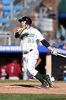 Jamestown Jammers third baseman Kevin Ross (23) at bat during a game against the Mahoning Valley Scrappers on June 15, 2014 at Russell Diethrick Park in Jamestown, New York.  Jamestown defeated Mahoning Valley 9-4.  (Mike Janes/Four Seam Images)