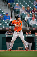 Norfolk Tides Austin Wynns (19) bats during an International League game against the Buffalo Bisons on June 21, 2019 at Sahlen Field in Buffalo, New York.  Buffalo defeated Norfolk 2-1, the first game of a doubleheader.  (Mike Janes/Four Seam Images)