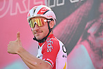 Elia Viviani (ITA) Cofidis at sign on before the start of Stage 11 of the 103rd edition of the Giro d'Italia 2020 running 182km from Porto Sant'Elpidio to Rimini, Italy. 14th October 2020.  <br /> Picture: LaPresse/Massimo Paolone | Cyclefile<br /> <br /> All photos usage must carry mandatory copyright credit (© Cyclefile | LaPresse/Massimo Paolone)