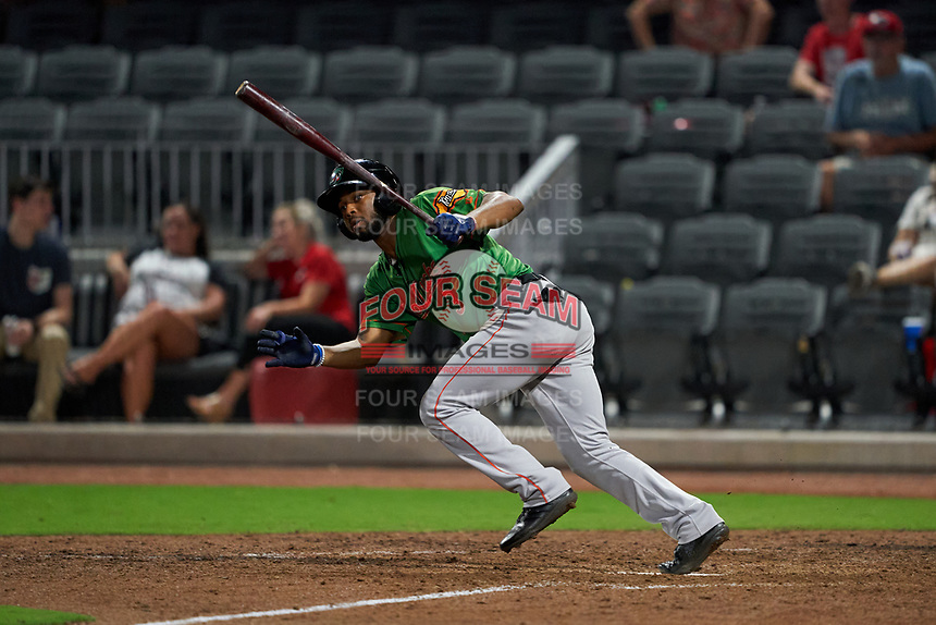 Down East Wood Ducks Franklin Rollin (3) at bat during a Carolina League game against the Fayetteville Woodpeckers on August 13, 2019 at SEGRA Stadium in Fayetteville, North Carolina.  Fayetteville defeated Down East 5-3.  (Mike Janes/Four Seam Images)