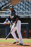 Gabriel Quintana #24 of the AZL Padres bats against the AZL Royals at Peoria Sports Complex on July 24, 2012 in Surprise, Arizona. Padres defeated Royals 9-7. (Larry Goren/Four Seam Images)