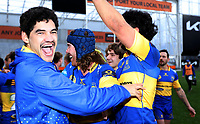 Taieri players celebrate winning the Dunedin Premier club rugby final between Green Island and Taieri played at Forsyth Barr Stadium in Dunedin, on Saturday 31st July, 2021. © John Caswell/Caswell Images