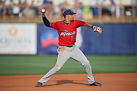 Fort Myers Miracle shortstop Royce Lewis (1) throws to first base during a Florida State League game against the Charlotte Stone Crabs on April 6, 2019 at Charlotte Sports Park in Port Charlotte, Florida.  Fort Myers defeated Charlotte 7-4.  (Mike Janes/Four Seam Images)