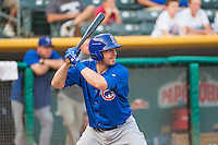 Taylor Teagarden (21) of the Iowa Cubs at bat against the Salt Lake Bees in Pacific Coast League action at Smith's Ballpark on August 21, 2015 in Salt Lake City, Utah. The Bees defeated the Cubs 12-8.  (Stephen Smith/Four Seam Images)