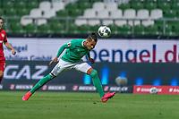18th May 2020, WESERSTADION, Bremen, Germany; Bundesliga football, Werder Bremen versus Bayer Leverkusen;  Theodor Gebre Selassie Werder Bremen goes low to get his header towards goal