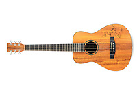 BNPS.co.uk (01202 558833)<br /> Pic: Bonhams/BNPS<br /> <br /> A guitar Ed Sheeran used for an impromptu performance to entertain the troops in Afghanistan has emerged for sale for £7,000.<br /> <br /> The superstar visited Camp Bastion in 2014 to boost morale and was handed the small acoustic Martin LXK2 by a serviceman.<br /> <br /> He had taken the instrument on tour of him to play to his comrades and chose this model as he was a fan of Sheeran's and had seen him use it.<br /> <br /> When Sheeran was handed the guitar, he noted it was a model he was familiar with and played his hit song 'A Team' for the small gathering.