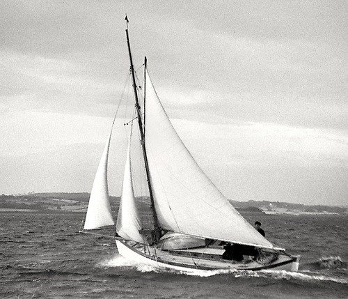 the Lufra Cup at Ballyholme, the 1893 Dun Laoghaire-built Marie was designed by Maimie Doyle, who later designed the transom-sterned Water Wags