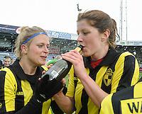 20160417 - WESTERLO , BELGIUM : Lierse's players celebrating their win in  the final of Belgian cup 2016 , a soccer women game between SK Lierse Dames and RSC Anderlecht  , in stadion Het Kuipje Westerlo , sunday 17 th April 2016 . PHOTO SPORTPIX.BE / DIRK VUYLSTEKE