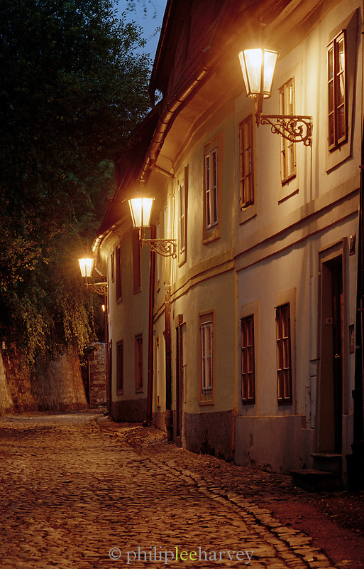 Streets at night in Prague, Czech Republic