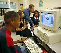 High school student at computer. High School Students. Rio Rancho New Mexico USA.