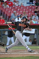 Max White (4) of the Modesto Nuts bats against the High Desert Mavericks at Heritage Field on June 3, 2016 in Adelanto, California. Modesto defeated High Desert, 2-1. (Larry Goren/Four Seam Images)