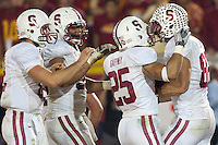 LOS ANGELES, CA-OCTOBER 29,2011- Stanford defeated USC 56-48. Coby Fleener (82) celebrates scoring the winning touchdown in over time during play against USC at the L.A. Coliseum in Los Angeles, CA.