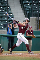 Jacob Robson (7) of the Mississippi State Bulldogs bats against the Southern California Trojans at Dedeaux Field on March 5, 2016 in Los Angeles, California. Mississippi State defeated Southern California , 8-7. (Larry Goren/Four Seam Images)