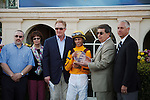 Jockey John Velazquez, trainer Todd Pletcher and Stonestreet Stables connections in the winners circle after Kauai Katie's win in the Forward Gal (G2) at Gulfstream Park.  Hallandale Beach Florida. 01-26-2013
