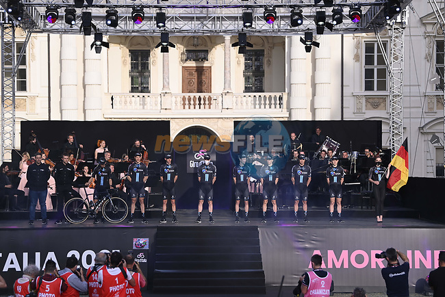 Team DSM on stage at team presentation of the 2021 Giro d'Italia inside the Cortile d'Onore of the Castello del Valentino, on the occasion of the 160th anniversary of the Unification of Italy, Turin, Italy. 6th May 2021.  <br /> Picture: LaPresse/Fabio Ferrari | Cyclefile<br /> <br /> All photos usage must carry mandatory copyright credit (© Cyclefile | LaPresse/Fabio Ferrari)