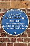 Isaac Rosenberg blue plaque on the exterior wall of the Whitechapel Art Gallery. Whitechapel High Street London E1 UK.