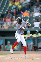 Shortstop Shervyen Newton (3) of the Columbia Fireflies, playing as the Chicharrones de Columbia, bats in a game against the Charleston RiverDogs on Friday, July 12, 2019 at Segra Park in Columbia, South Carolina. The RiverDogs won, 4-3, in 10 innings. (Tom Priddy/Four Seam Images)