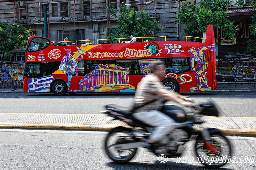 The tour bus for the sightseeing of Athens, Greece