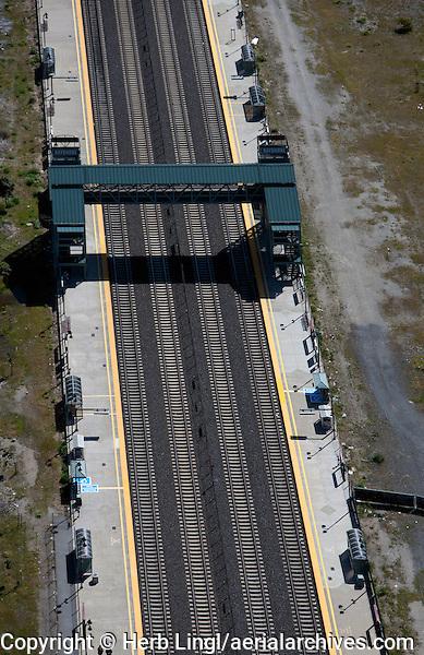 aerial photograph pedestrian rail overcrossing Bayshore CalTrain stop northern California