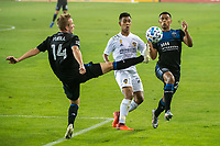 SAN JOSE, CA - SEPTEMBER 13: Jackson Yueill #14 and Marcus Lopez #27 of the San Jose Earthquakes battle for the ball with Efrain Alvarez #26 of the LA Galaxy during a game between Los Angeles Galaxy and San Jose Earthquakes at Earthquakes Stadium on September 13, 2020 in San Jose, California.