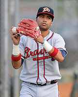 Infielder Fernando De Los Santos (7) of the Danville Braves, Appalachian League affiliate of the Atlanta Braves, prior to a game against the Johnson City Cardinals on August 19, 2011, at Howard Johnson Field in Johnson City, Tennessee. Danville defeated Johnson City, 5-4, in 16 innings. (Tom Priddy/Four Seam Images)