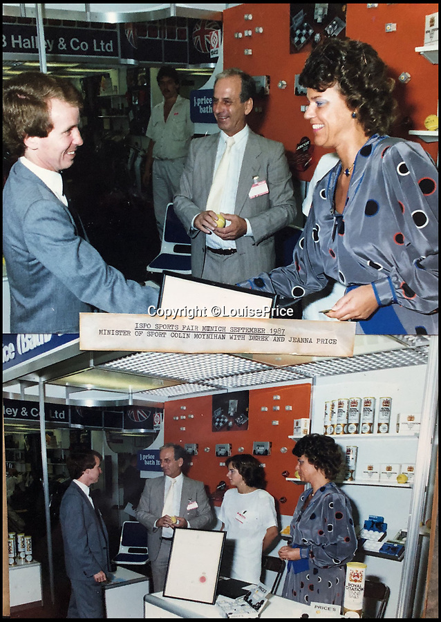 BNPS.co.uk (01202 558833)Pic: LouisePrice/BNPS<br /> <br /> Derek and Jeanna Price  with Colin Moynihan Minister of Sport 1987 ISPO sports exhibition in Munich.<br /> <br /> Price of Bath was set up by her grandfather Joseph in the 1930's and after WW2 employed 120 people churning out 84,000 balls a week - nowadays it's the last tennis ball maker in the western world, and produces a much more modest 6000 balls a week from raw rubber from Malaysia to finished product.Louise's father Derek, who invented the rubber tiles used on nuclear powered submarines as well as running the family business, still works full time in the dickensian factory at the age of 88.