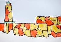 """Europe/France/Provence-Alpes-Côte d'Azur/13/Bouches-du-Rhône/Marseille: Restaurant""""Calypso"""" rue des Catalans détail de la décoration années 1960 : Digue et phare"""