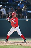 Cameron Cannon (35) of the Arizona Wildcats bats against the UCLA Bruins at Jackie Robinson Stadium on March 19, 2017 in Los Angeles, California. UCLA defeated Arizona, 8-7. (Larry Goren/Four Seam Images)