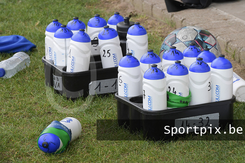 illustration picture of the drinking bottles of Club Brugge  pictured during a female soccer game between SV Zulte - Waregem and Club Brugge YLA on the fourth matchday of the 2021 - 2022 season of the Belgian Scooore Womens Super League , saturday 11 of September 2021  in Harelbeke , Belgium . PHOTO SPORTPIX | DIRK VUYLSTEKE
