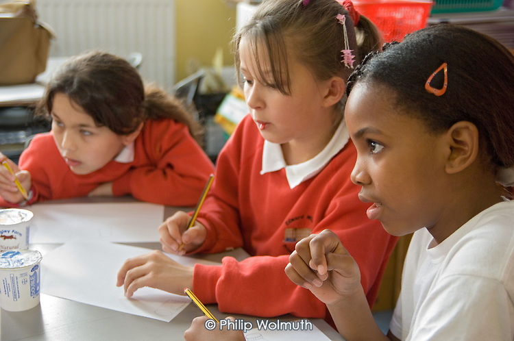 Year 5 & 6 children at Edward Wilson Primary School work on a healthy eating project at an after school club.