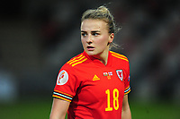 Kylie Nolan of Wales Women's in action during the UEFA Women's EURO 2022 Qualifier match between Wales Women and Faroe Islands Women at Rodney Parade in Newport, Wales, UK. Thursday 22 October 2020