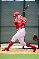 GCL Phillies catcher Joel Fisher (15) at bat during a game against the GCL Pirates on June 26, 2014 at the Carpenter Complex in Clearwater, Florida.  GCL Phillies defeated the GCL Pirates 6-2.  (Mike Janes/Four Seam Images)