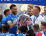 15.05.2021 Rangers v Aberdeen: Connor Goldson and Allan McGregor with the SPFL Premiership league trophy