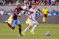 SAN JOSÉ CA - JULY 27: Kellyn Acosta #10 and Tommy Thompson #22 during a Major League Soccer (MLS) match between the San Jose Earthquakes and the Colorado Rapids on July 27, 2019 at Avaya Stadium in San José, California.