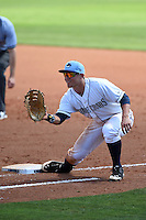 Charlotte Stone Crabs first baseman Jake Bauers (23) waits for a throw during a game against the Daytona Tortugas on April 14, 2015 at Charlotte Sports Park in Port Charlotte, Florida.  Charlotte defeated Daytona 2-0.  (Mike Janes/Four Seam Images)
