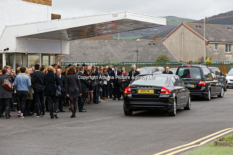 """Pictured: The funeral cortege arrives at Aberavon Beach Hotel in Port Talbot, Wales, UK. Monday 08 October 218<br /> Re: A grieving father will mourners on horseback at the funeral of his """"wonderful"""" son who killed himself after being bullied at school.<br /> Talented young horse rider Bradley John, 14, was found hanged in the school toilets by his younger sister Danielle.<br /> Their father, farmer Byron John, 53, asked the local riding community to wear their smart hunting gear at Bradley's funeral.<br /> Police are investigating Bradley's death at the 500-pupils St John Lloyd Roman Catholic school in Llanelli, South Wales.<br /> Bradley's family claim he had been bullied for two years after being diagnosed with Attention Deficit Hyperactivity Disorder.<br /> He went missing during lessons and was found in the toilet cubicle by his sister Danielle, 12."""