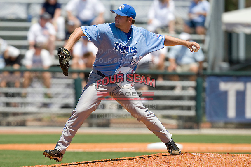 Memphis Tigers starting pitcher Ryan Holland #32 delivers against the Rice Owls in NCAA Conference USA baseball on May 14, 2011 at Reckling Park in Houston, Texas. (Photo by Andrew Woolley / Four Seam Images)
